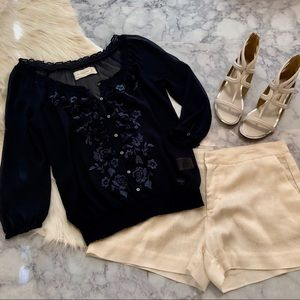 Abercrombie & Fitch Navy Floral Embellished Top